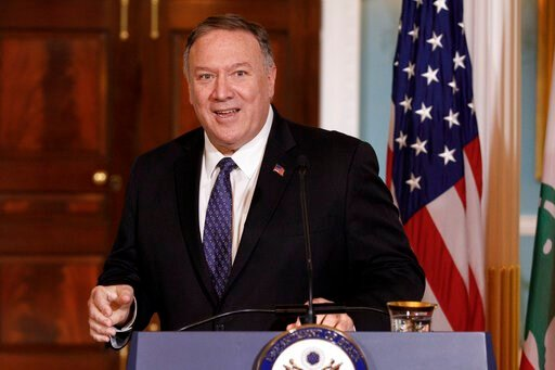 (AP Photo/Carolyn Kaster, File). FILE - In this Thursday, Aug. 15, 2019 file photo, Secretary of State Mike Pompeo speaks to media during a news conference with Lebanese Prime Minister Saad Hariri at the State Department in Washington. Even though Pomp...