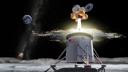 (NASA via AP). This illustration provided by NASA on Friday, Aug. 16, 2019, shows a proposed design for an Artemis program ascent vehicle leaving the surface of the moon, separating from a descent vehicle. On Friday, Aug. 16, 2019, NASA picked its Mars...