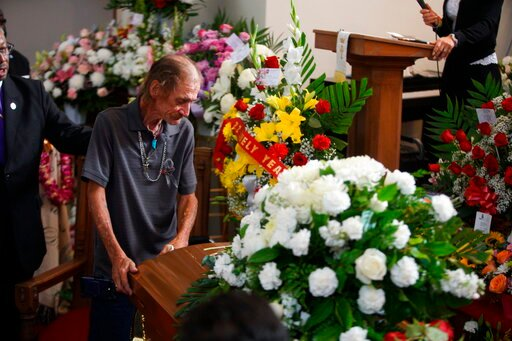 (AP Photo/Jorge Salgado). Antonio Basco, companion of Margie Reckard, leans on her casket during her funeral at La Paz Faith Memorial & Spiritual Center, Friday, Aug. 16, 2019, in El Paso, Texas. Reckard was killed during the mass shooting on Aug. 3.