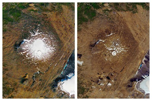 (NASA via AP). This combination of Sept. 14, 1986, left, and Aug. 1, 2019 photos provided by NASA shows the shrinking of the Okjokull glacier on the Ok volcano in west-central Iceland. A geological map from 1901 estimated Okjökull spanned an area of ab...