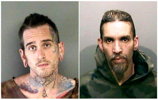 (Alameda County Sheriff's Office via AP, File). FILE - This combination of June 2017, file booking photos provided by the Alameda County Sheriff's Office shows Max Harris, left, and Derick Almena at Santa Rita Jail in Alameda County, Calif. A judge has...