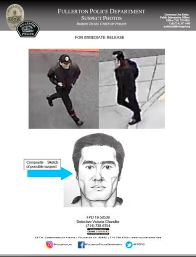 (Fullerton Police Department via AP). This wanted poster released Tuesday, Aug. 20, 2019 by the Fullerton, Calif., Police Department, shows a sketch and surveillance images of a suspect in the stabbing death of a retired college administrator at Califo...