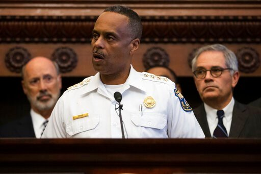 (AP Photo/Matt Rourke). Philadelphia Police Commissioner Richard Ross speaks during a news conference at City Hall in Philadelphia, Thursday, Aug. 15, 2019. A gunman, identified as Maurice Hill, wounded six police officers before surrendering early Thu...