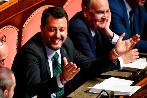 (Ettore Ferrari/ANSA via AP). Italian Deputy-Premier Matteo Salvini opens his arms at the Senate, in Rome, Tuesday, Aug. 20, 2019. Italian Premier Giuseppe Conte on Tuesday announced his resignation, blaming his decision to end his 14-month-old populis...