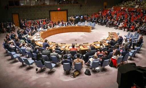 (AP Photo/Bebeto Matthews). United Nations Security Council meeting on the Mideast attended by United States Secretary of State Michael Pompeo, Tuesday Aug. 20, 2019 at U.N. headquarters.