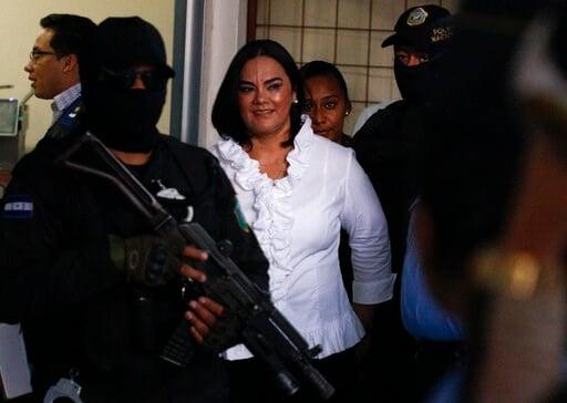 "(AP Photo/Elmer Martinez). Former Honduran first lady Rosa Elena Bonilla de Lobo smiles arrives to court for her sentencing on corruption charges in Tegucigalpa, Honduras, Tuesday, Aug. 20, 2019. The case has been dubbed ""La caja chica de la dama,"" Spa..."