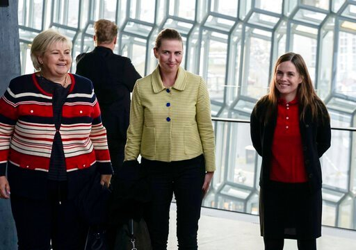 (AP Photo/Egill Bjarnason). From left, Norway's Prime Minister Erna Solberg, Denmark's Prime Minister Mette Frederiksen and Prime Minister of Iceland Katrin Jakobsdottir arrive at Harpa Concert Hall in Reykjavik, Tuesday Aug. 20, 2019, ahead of the Nor...