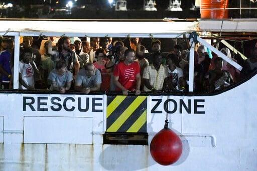 (AP Photo/Salvatore Cavalli). The Open Arms rescue ship arrives on the Sicilian island of Lampedusa, southern Italy, Tuesday, Aug. 20, 2019. Italian prosecutor Luigi Patronaggio has ordered the seizure of a migrant rescue ship and the immediate evacuat...