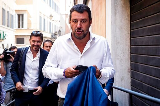 (Angelo Carconi/ANSA via AP). Italian Deputy-Premier and Interior Minister, Matteo Salvini, arrives for a meeting in Rome, Wednesday, Aug. 21, 2019. Italy could see elections as early as this fall after Italian Premier Giuseppe Conte resigned amid the ...