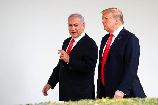 (AP Photo/Manuel Balce Ceneta, File). FILE - In this March 25, 2019, file photo, President Donald Trump and visiting Israeli Prime Minister Benjamin Netanyahu walk along the Colonnade of the White House in Washington. Netanyahu on Wednesday, Aug. 21, 2...