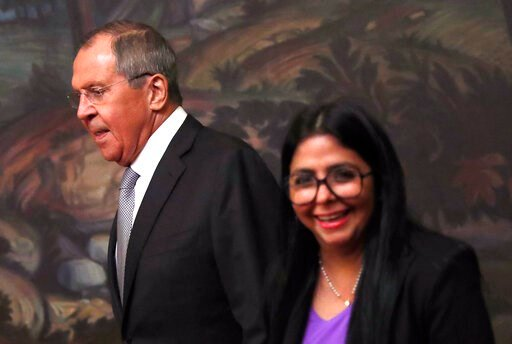 (Maxim Shipenkov/Pool Photo via AP). Venezuelan Vice President Delcy Rodriguez, right, and Russian Foreign Minister Sergei Lavrov during their meeting in Moscow, Russia, Aug. 21 2019. Delcy Rodriguez is on a working visit to Moscow.