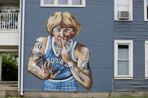 (AP Photo/Darron Cummings). A mural of former NBA star Larry Bird is seen on the side of a multi-family residence in Fountain Square, Wednesday, Aug. 21, 2019, in Indianapolis. Larry Bird likes the mural but not the tatts. Bird's attorney, Gary Sallee,...