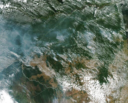 (NASA via AP). This satellite image provided by NASA on Aug. 13, 2019 shows several fires burning in the Brazilian Amazon forest.  Brazil's National Institute for Space Research, a federal agency monitoring deforestation and wildfires, said the country...