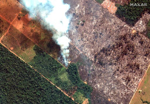 (Satellite image ©2019 Maxar Technologies via AP). This Aug. 15, 2019 satellite image from Maxar Technologies shows closeup view of a fire southwest of Porto Velho Brazil. Brazil's National Institute for Space Research, a federal agency monitoring defo...