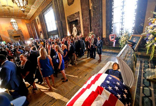 (AP Photo/Michael Democker, Pool). Former Louisiana Gov. Kathleen Babineaux Blanco lies in state in the state capitol rotunda in Baton Rouge, La., Thursday, Aug. 22, 2019. Thursday was the first of three days of public events to honor Blanco, the state...