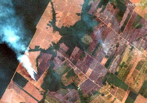 (Satellite image ©2019 Maxar Technologies via AP). In this Aug 15, 2019 satellite image provided by Satellite image ©2019 Maxar Technologies, shows fires burning in the State of Rondonia, Brazil, in the upper Amazon River basin. Brazil's National Insti...