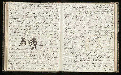 (The Royal Collection Trust via AP). This undated image issued on Friday Aug. 23, 2019 by The Royal Collection shows Queen Victoria's volumes of reminiscences between 1840 and 1861. In these pages she describes how Prince Albert played with his young c...