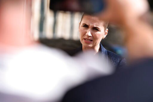 (Mads Claus Rasmussen / Ritzau Scanpix). Denmark's Prime Minister Mette Frederiksen makes a comment on US President's cancellation of his scheduled State Visit, in front of the State Department in Copenhagen, Wednesday, Aug. 21, 2019.  U.S. President T...