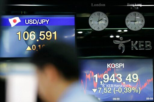 (AP Photo/Lee Jin-man). Screens showing the Korea Composite Stock Price Index (KOSPI) and the foreign exchange rates are seen at the foreign exchange dealing room in Seoul, South Korea, Friday, Aug. 23, 2019. Asian stock markets were mixed on Friday af...