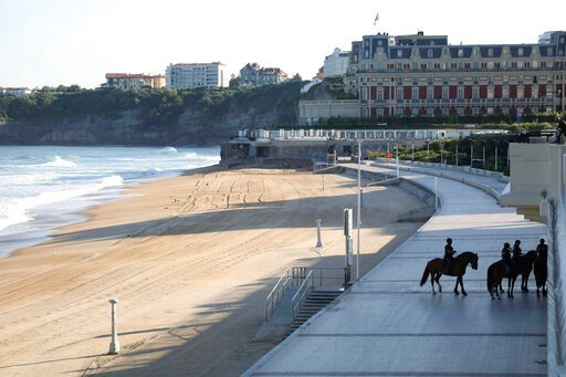 (AP Photo/Markus Schreiber). Mounted police officers patrol near the beach on the first day of the G-7 summit in Biarritz, France Saturday, Aug. 24, 2019. U.S. President Donald Trump and the six other leaders of the Group of Seven nations will begin me...