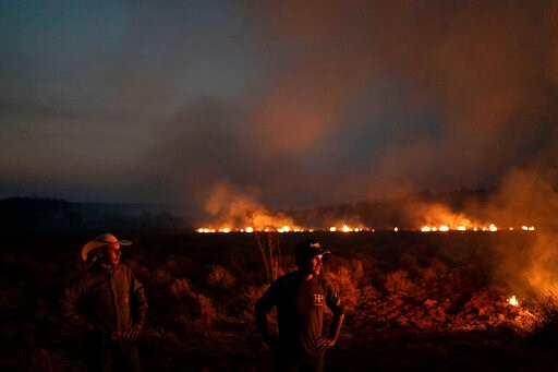 (AP Photo/Leo Correa). Neri dos Santos Silva, center, watches an encroaching fire threat after digging trenches to keep the flames from spreading to the farm he works on, in the Nova Santa Helena municipality, in the state of Mato Grosso, Brazil, Frida...