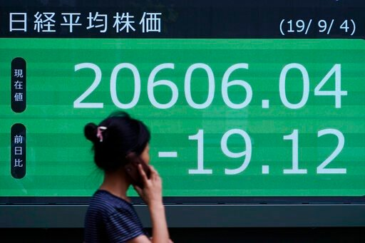 (AP Photo/Eugene Hoshiko). A woman walks past an electronic stock board showing Japan's Nikkei 225 index at a securities firm in Tokyo Wednesday, Sept. 4, 2019. Asian stock markets rose Wednesday following surprise weakness in U.S. manufacturing and wr...