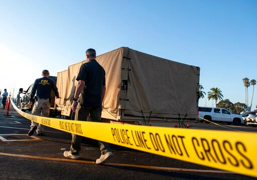 (AP Photo/Christian Monterrosa). FBI investigators unload equipment to begin examining evidence obtained from the wreckage of the dive boat Conception on Wednesday, Sept. 4, 2019, in Santa Barbara, Calif. A fire raged through the boat carrying recreati...
