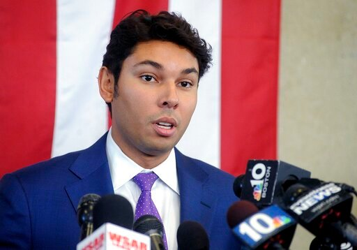 (Dave Souza/The Herald News of Fall River via AP, File). FILE - In this Oct. 16, 2018 file photo, Mayor Jasiel Correia speaks about his indictment during a news conference in Fall River, Mass. Correia was arrested on Friday, Sept. 6, 2019, and faces ad...