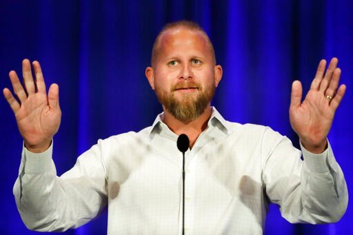 (AP Photo/Chris Carlson). Brad Parscale campaign manager for Trump's 2020 reelection campaign speaks during the California GOP fall convention on Sept. 7, 2019, in Indian Wells, Calif.