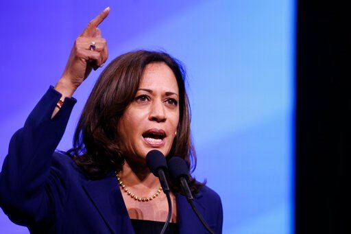 (AP Photo/Robert F. Bukaty). Democratic presidential candidate Sen. Kamala Harris, D-Calif., speaks during the New Hampshire state Democratic Party convention, Saturday, Sept. 7, 2019, in Manchester, NH.