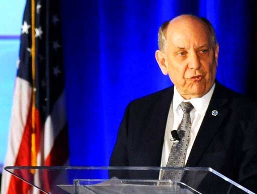 (AP Photo/Jay Reeves). National Weather Service Director Louis Uccellini addresses a meeting of the National Weather Association in Huntsville, Ala., Monday, Sept. 9, 2019. Uccellini defended forecasters who contradicted President Donald Trump's claim ...