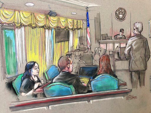 (Daniel Pontet via AP, File). FILE - In this April 15, 2019, file court sketch, Yujing Zhang, left, a Chinese woman charged with lying to illegally enter President Donald Trump's Mar-a-Lago club, listens to a hearing before Magistrate Judge William Mat...