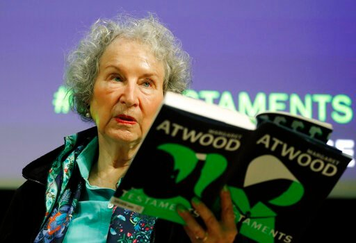 (AP Photo/Alastair Grant). Canadian author Margaret Atwood speaks during a press conference at the British Library to launch her new book 'The Testaments' in London, Tuesday, Sept. 10, 2019.