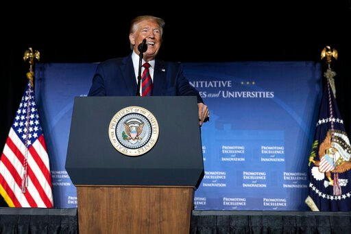 (AP Photo/Carolyn Kaster). President Donald Trump speaks at the 2019 National Historically Black Colleges and Universities Week Conference in Washington, Tuesday, Sept. 10, 2019.