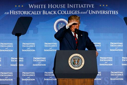 (AP Photo/Jacquelyn Martin). President Donald Trump looks out as the crowd as he speaks at the 2019 National Historically Black Colleges and Universities (HBCU) Week Conference, Tuesday, Sept. 10, 2019, in Washington.