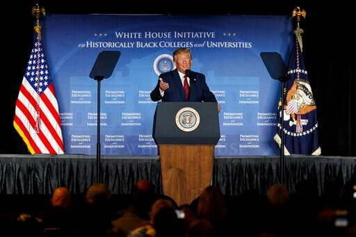(AP Photo/Jacquelyn Martin). President Donald Trump speaks at the 2019 National Historically Black Colleges and Universities (HBCU) Week Conference, Tuesday, Sept. 10, 2019, in Washington.