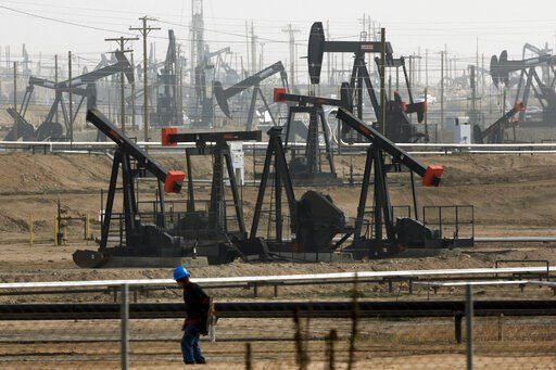 (AP Photo/Jae C. Hong, File). FILE - This Jan. 16, 2015, file photo shows pumpjacks operating at the Kern River Oil Field, in Bakersfield, Calif. Some Democratic presidential hopefuls are calling for fracking bans. It may play well with some of the par...