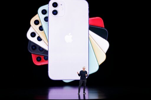 (AP Photo/Tony Avelar). Apple CEO Tim Cook talks about the latest iPhone during an event to announce new products Tuesday, Sept. 10, 2019, in Cupertino, Calif.