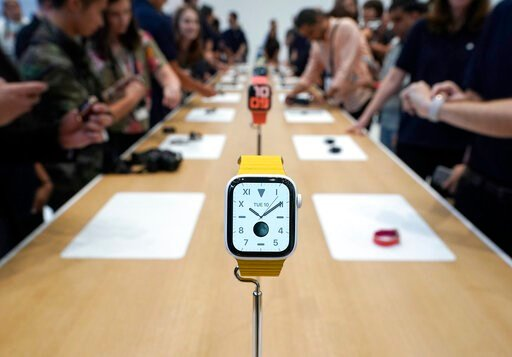(AP Photo/Tony Avelar). The new iWatch 5 was on display for the event attendees during an event announcement of the new Apple products Tuesday, Sept. 10, 2019, in Cupertino, Calif.