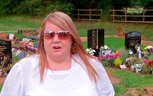 (AP Photo). In this image taken from video, Nicola Bowler talks to the Associated Press in the cemetery where her father is buried, in Birmingham, England, Tuesday Sept. 10, 2019. Nicola Bowler has been surprised after she released a helium balloon in ...