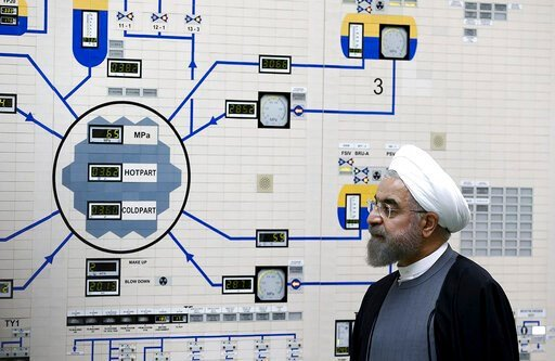 (AP Photo/Iranian Presidency Office, Mohammad Berno, File). FILE - In this Jan. 13, 2015, file photo released by the Iranian President's Office, President Hassan Rouhani visits the Bushehr nuclear power plant just outside of Bushehr, Iran. Iran announc...