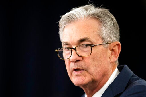 (AP Photo/Manuel Balce Ceneta, File). FILE - In this July 31, 2019, file photo Federal Reserve Chairman Jerome Powell speaks during a news conference following a two-day Federal Open Market Committee meeting in Washington. Federal Reserve Chairman Jero...