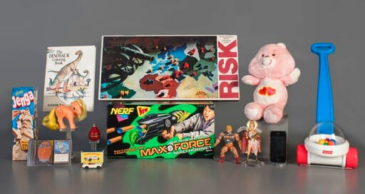 (National Toy Hall of Fame via AP). In this Aug. 13, 2019 photo provided by the National Toy Hall of Fame are the 2019 finalists, from left to right, Jenga, Magic the Gathering, My Little Pony, Coloring Book, Matchbox Cars, Top, Nerf Blaster, Risk, Mas...