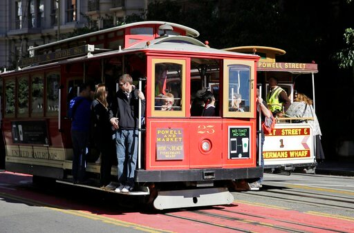 (AP Photo/Eric Risberg, File). FILE - In this Nov. 3, 2015 file photo, a pair of cable cars go past each other on Powell Street atop Nob Hill in San Francisco. The city's iconic cable cars will stop running for 10 days starting Friday, Sept. 13, 2019, ...