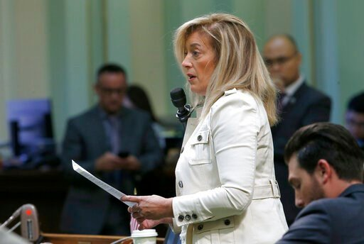(AP Photo/Rich Pedroncelli). Assembly Republican Leader Marie Waldron, of Escondido, urges lawmakers to reject a measure to give new wage and benefit protections at the so-called gig economy companies like Uber and Lyft, during the Assembly session in ...