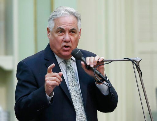 (AP Photo/Rich Pedroncelli). CORRECTS TO ASSEMBLYMAN NOT ASSEMBLYWOMAN Assemblyman Jim Patterson, R-Fresno, urges lawmakers to reject a measure to give new wage and benefit protections at the so-called gig economy companies like Uber and Lyft, during t...