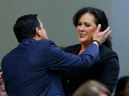 (AP Photo/Rich Pedroncelli). Assemblywoman Lorena Gonzalez, D-San Diego, receives congratulations from Assembly Speaker Anthony Rendon, of Lakewood after her to give new wage and benefit protections at the so-called gig economy companies like Uber and ...