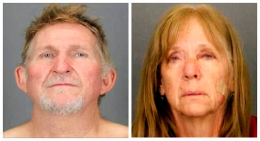 (Tucson Police Department via AP, File). FILE - These undated file booking photos provided by the Tucson Police Department show 56-year-old Blake Barksdale, left, and his 59-year-old wife Susan Barksdale.  Authorities say the husband and wife fugitives...