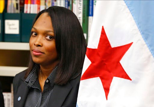 (AP Photo/Charles Rex Arbogast File). FILE - In this July 16, 2015, file photo, Janice Jackson, chief executive officer for Chicago Public Schools, appears at a news conference in Chicago. Federal education officials called Chicago Public Schools' hand...