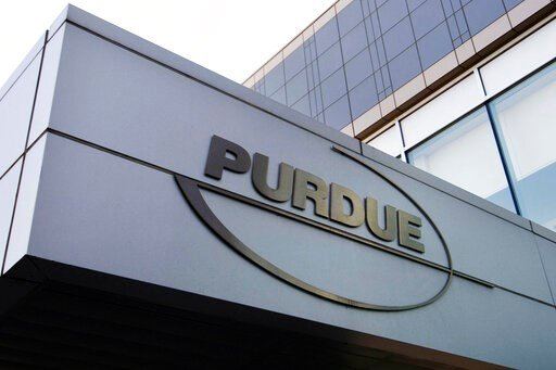 (AP Photo/Douglas Healey, File). FILE - This May 8, 2007, file photo shows the Purdue Pharma logo at its offices in Stamford, Conn. It's not entirely clear what a bankruptcy filing for Purdue Pharma would mean for the wealth of the Sackler family behin...